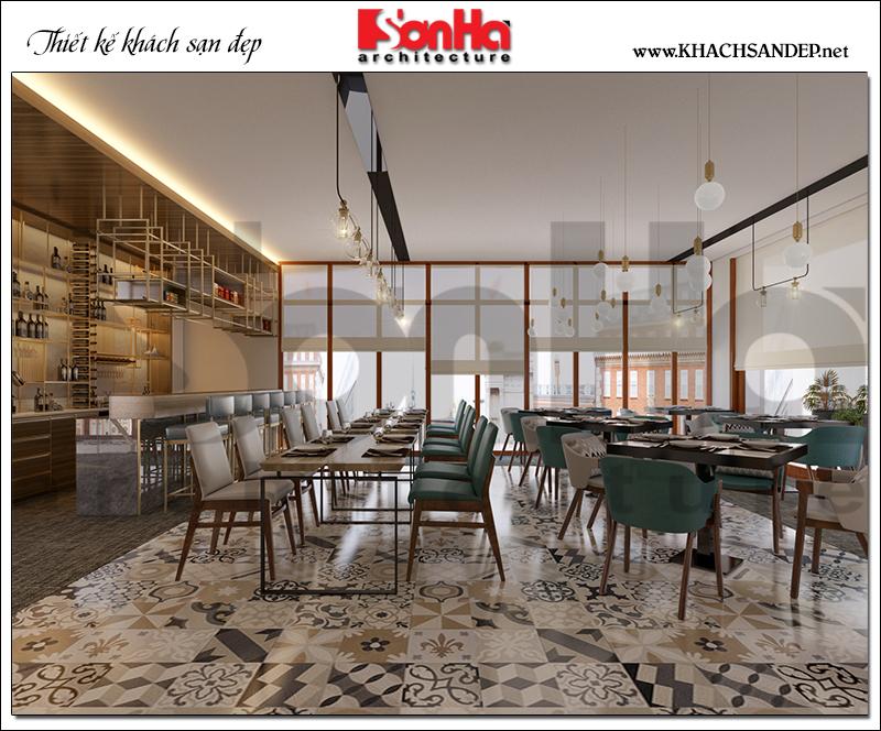 Mang hơi hướng hiện đại trẻ trung và sang trọng, ý tưởng bày trí nội thất nhà hàng đẹp này sẽ mang lại hiệu quả cao cho chủ đầu tư