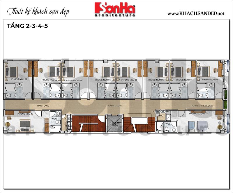 Bản vẽ công năng tầng 2 đến tầng 5 khách sạn hiện đại 10m x 30m tại Bình Dương