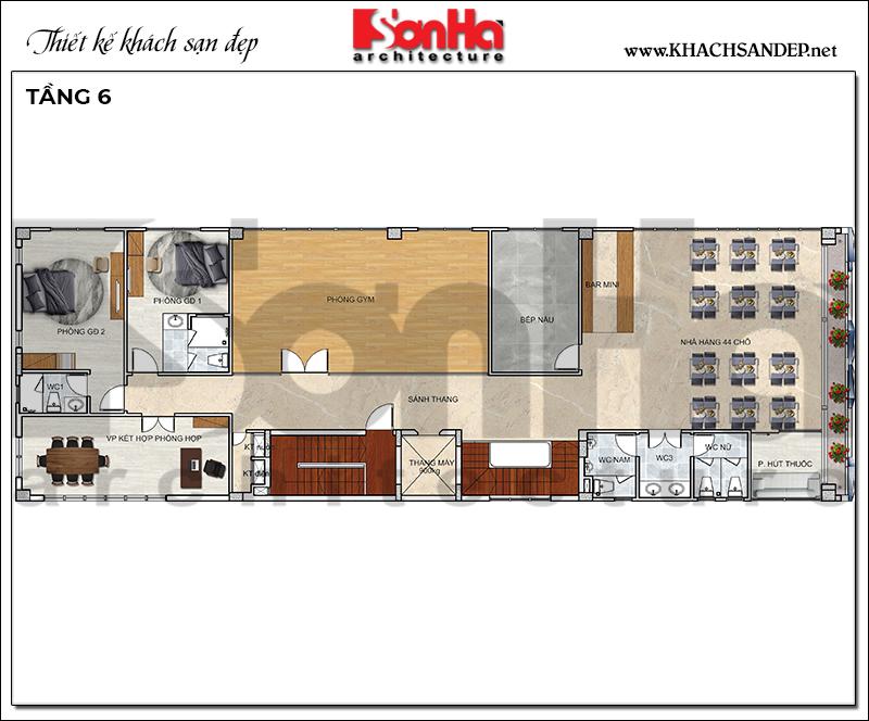 Bản vẽ công năng tầng 6 khách sạn hiện đại 10m x 30m tại Bình Dương