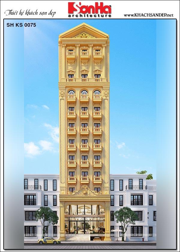 Từ phối cảnh bạn cũng sẽ thấy đây không chỉ là sự chia nhịp kiến trúc theo chiều dọc, công trình còn ghi dấu nhịp kiến trúc về chiều ngang từ các khối nhà. Các khối nhà dàn trải ra hai bên theo lối cân xứng nhau. Tất cả đã tạo ra một không gian kiến trúc khách sạn rất đặc biệt và nổi bật, giúp làm tăng quy mô cho công trình một cách hiệu quả.