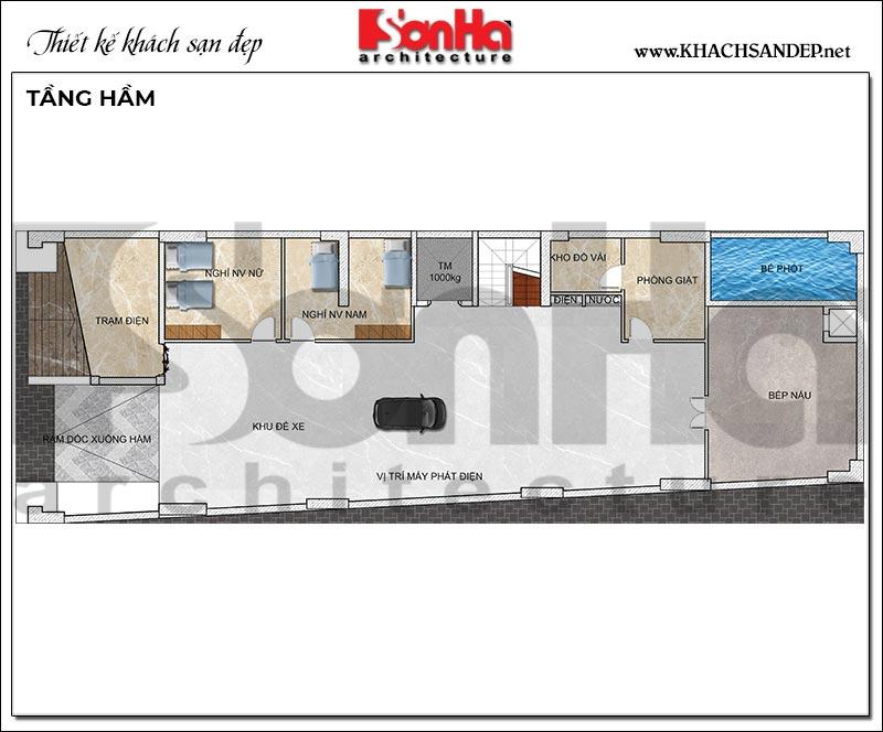 2 Mặt bằng tầng hầm khách sạn tân cổ điển mặt tiền 10,5m tại phú quốc sh ks 0075