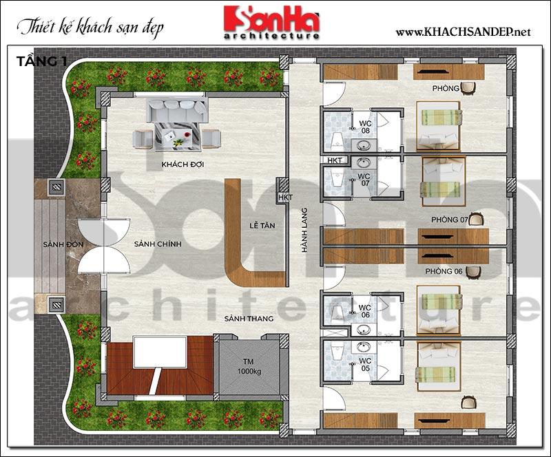 4 Bản vẽ tầng 1 khách sạn kiểu hiện đại tại quảng ninh sh ks 0076