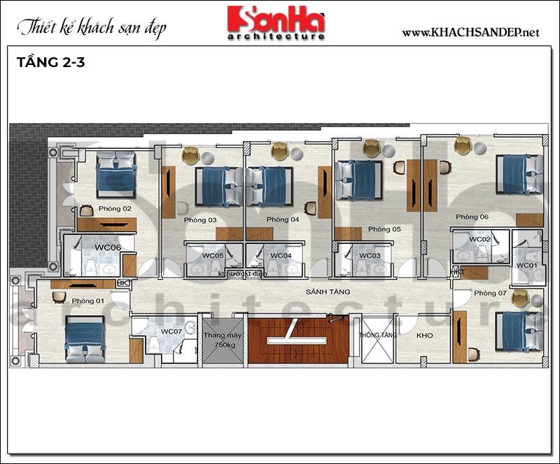 Mặt bằng công năng tầng 2+3 khách sạn 4 tầng tân cổ điển tiêu chuẩn mini 2 sao