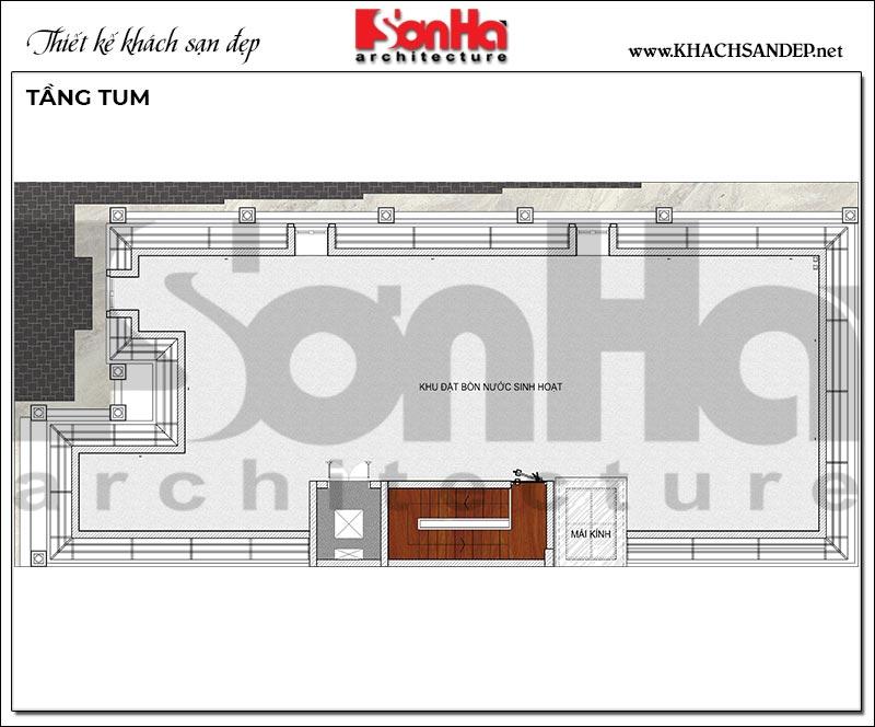 Mặt bằng công năng tầng tum khách sạn 4 tầng tân cổ điển tiêu chuẩn mini 2 sao