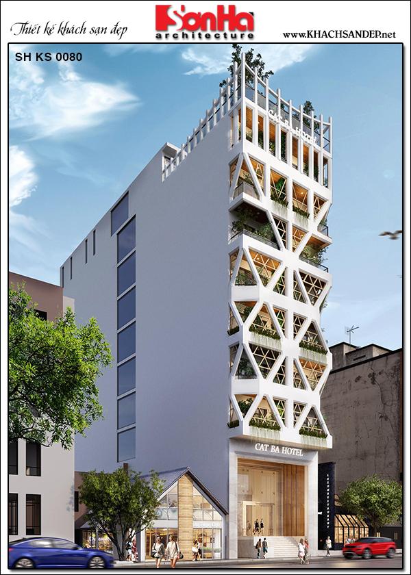 Muốn thỏa sức sáng tạo nhằm tạo ra thiết kế khách sạn tối ưu nhất và nổi bật nhất, các kiến trúc sư cũng đã lên thêm phiên bản khác của công trình khách sạn hiện đại này. Ở phiên bản khác, các kiến trúc sư đã tận dụng tối đa các khoảng không trống của mẫu thiết kế khách sạn 3 sao làm nổi bật lên kiến trúc với hệ cửa sổ kính kết hợp nhiều cây xanh tạo ra không gian mở thoáng đãng cho khách sạn. Đây cũng là ý tưởng độc đáo và giá trị để chúng ta tham khảo thêm.