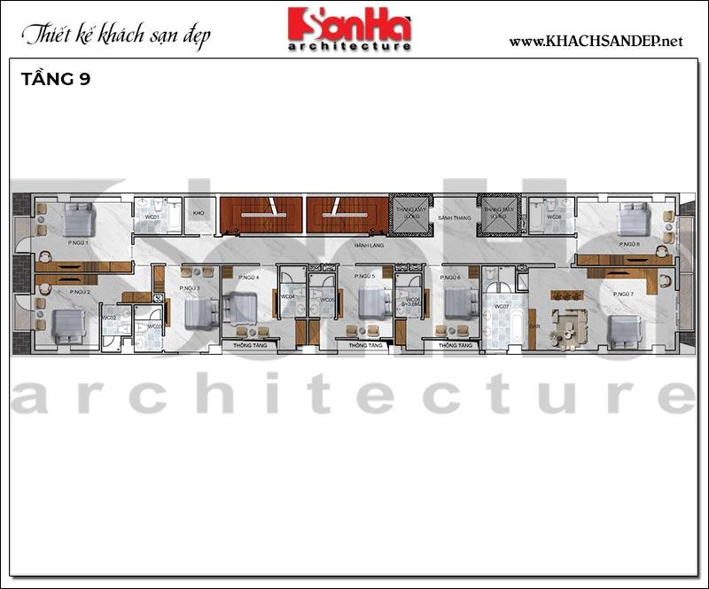 8 Mặt bằng tầng 9 khách sạn kiểu hiện đại đẹp tại hải phòng sh ks 0080
